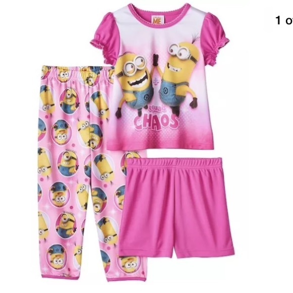 76a7437df Despicable me toddler girls 3pc pj set Sz 2t pink